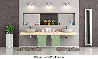 Baño moderno con doble lavabo