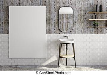 Baño moderno con pancarta