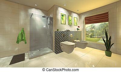 Baño moderno con pared mosaica