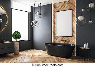 Baño moderno con poster