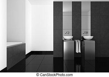 Baño moderno con suelo negro