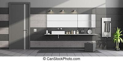 Baño moderno negro y gris