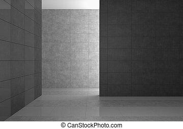 Baño moderno vacío con azulejos grises