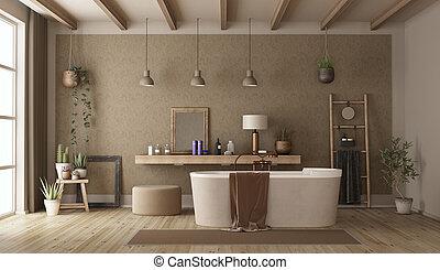 Baño retro con bañera moderna