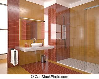 Baño rojo moderno