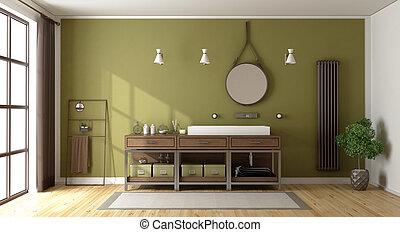 Baño verde con lavabo