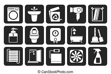 Baño y baño objetos de íconos