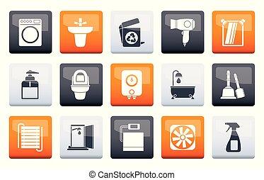 Baño y objetos de baño y iconos sobre el color de fondo