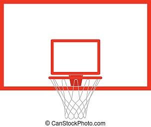 backboard., argolla del básquetbol, vector, ilustración