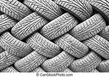 backgorund, neumáticos, caucho, negro, muchos
