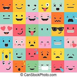 backgound, patrón, emoticons, colorido, conjunto, plano, emoji