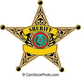 badge., vector, alguacil, ilustración