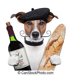 baguette, vino, boina, francés, perro