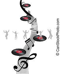 Bailando en la nota de música