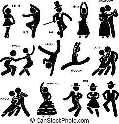 bailarín, bailando, pictogram