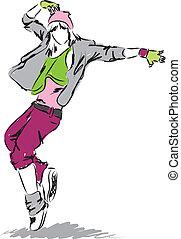 bailarín, cadera-salto, ilustración, bailando