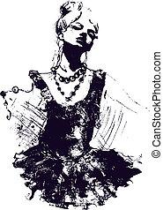 bailarín de niña, ilustración