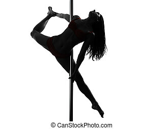 bailarín, mujer, silueta, poste