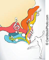 Bailarina con ondas coloridas y notas musicales