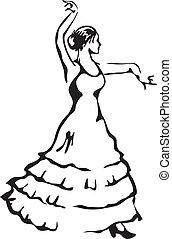 Bailarina Flamenco. Ilustración del vector.