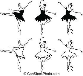 Bailarinas de ballet. Ilustración del vector.