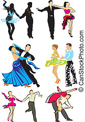 bailarines, baile de salón, -