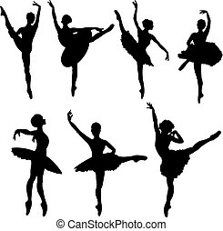 bailarines, siluetas, ballet