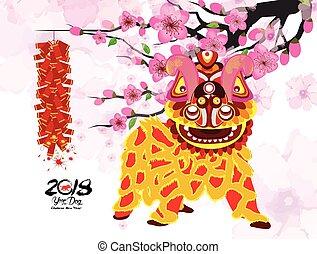 Baile de leones y chino año nuevo con petardos