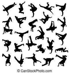 baile de pausa, siluetas