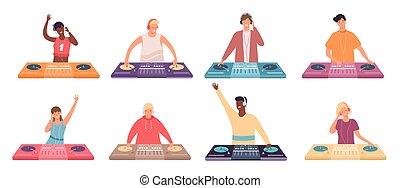 baile, fiesta, hembra, marca, plato giratorio, macho, dj, música, discoteca, músicos, console., vector, club nocturno, mixer., conjunto, o, caracteres
