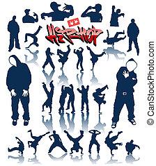 baile, vector, breakdance, personas