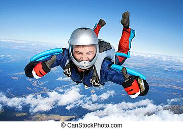bajas, por, skydiver, aire
