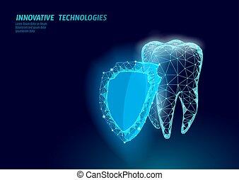 Bajo concepto médico de protección de dientes. La cavidad previene la pasta de dientes. Reconstrucción de esmalte de salud. Ilustración de vectores de vectores odontológicos poligonales