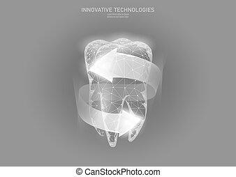 Bajo concepto médico de protección de dientes. Reconstrucción de esmalte de dentífrico. Procedimiento de odontología poligonal brillante flecha alrededor de la ilustración de vectores de dientes