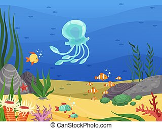 Bajo el agua. El fondo de la vida marina con peces y plantas de agua algas vector de dibujos animados