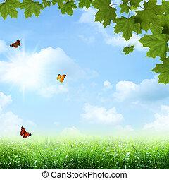 Bajo el cielo azul. Abstraer la primavera y los orígenes de verano