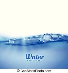 Bajo el fondo del agua con burbujas