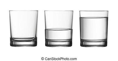 Bajo vacío, medio lleno de cristal de agua aislado en blanco con caminos de recorte incluido