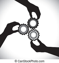 balance, ellos, concepto, diente, y, graphic-, integrity., sincronización, comunidad, 3, girar, trabajo en equipo, unidad, vector, ilustración, tenencia, siluetas, ruedas, mano, exposiciones