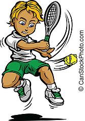 balanceo, pelota, raqueta, niño, jugador, tenis, niño