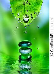 Balancing spa brillantes piedras con hojas y gotas de agua sobre fondo verde