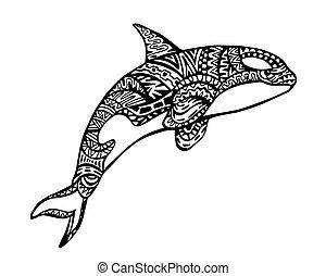 ballena, asesino, zentangle, ilustración