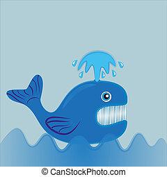Ballena azul nadando en el océano.