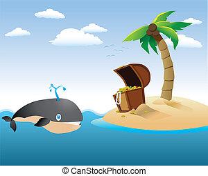 Ballena con la isla del tesoro