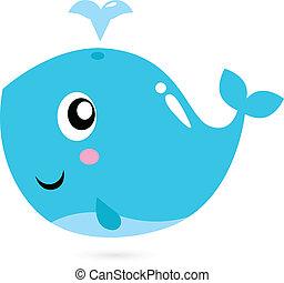 Ballena de caricatura azul aislada en blanco