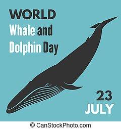 ballena, mundo, poster., vector, día, delfín