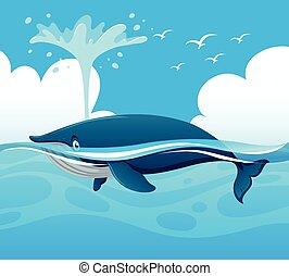 Ballena salpicando agua en el océano