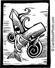 Ballena y calamar