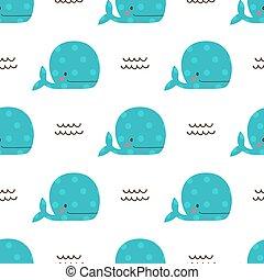 ballenas, seamless, ilustración, patrón, lindo, vector