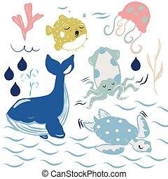 ballenas, vector, globo, ilustración, fish., calamares, tortugas